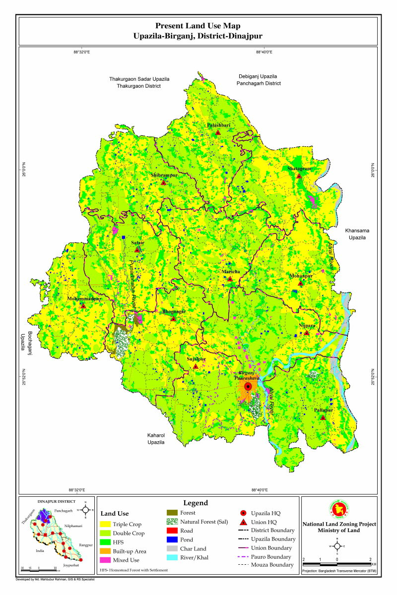 Birganj Upazila Mouza Map Dinajpur District Bangladesh