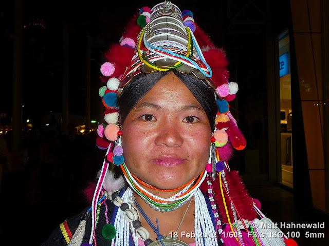 Akha woman, Akha headdress, Thai hilltribes, performer, portrait, headshot, Northern Thailand, Bangkok