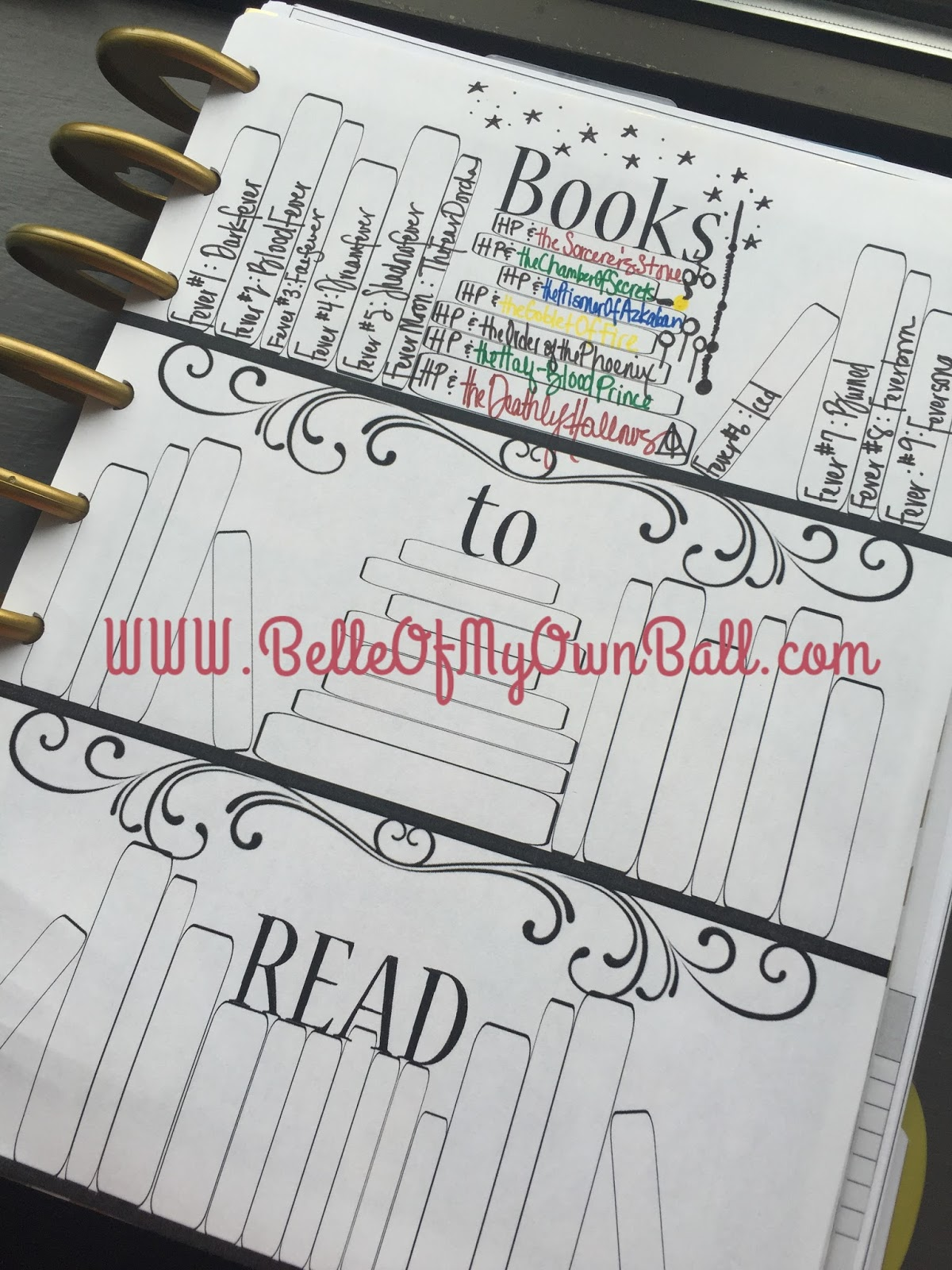 Belle Of My Own Ball Happy Planner Freebie Books To Read Insert