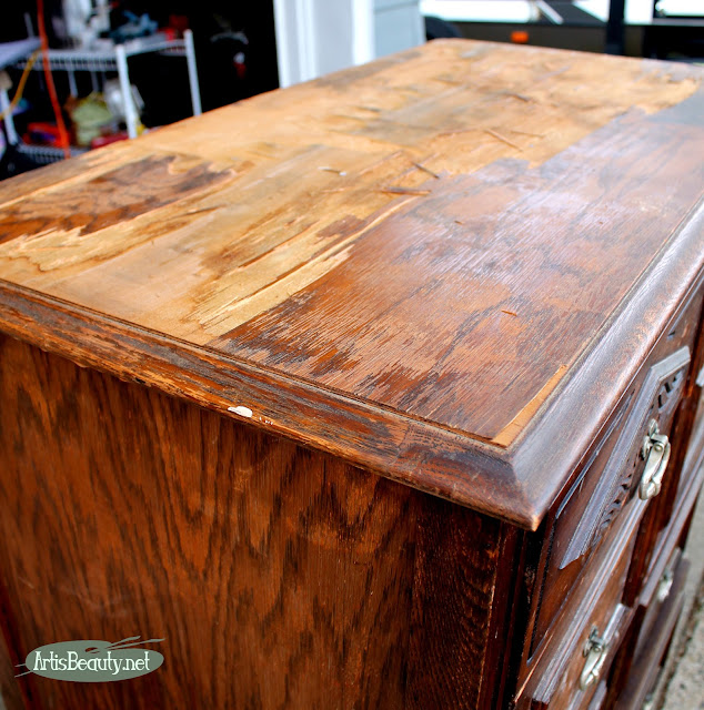 removing damaged veneer from a dresser top sanding repair woodwork
