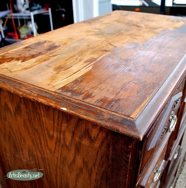 removing damaged veneer from a dresser top sanding repair woodwork