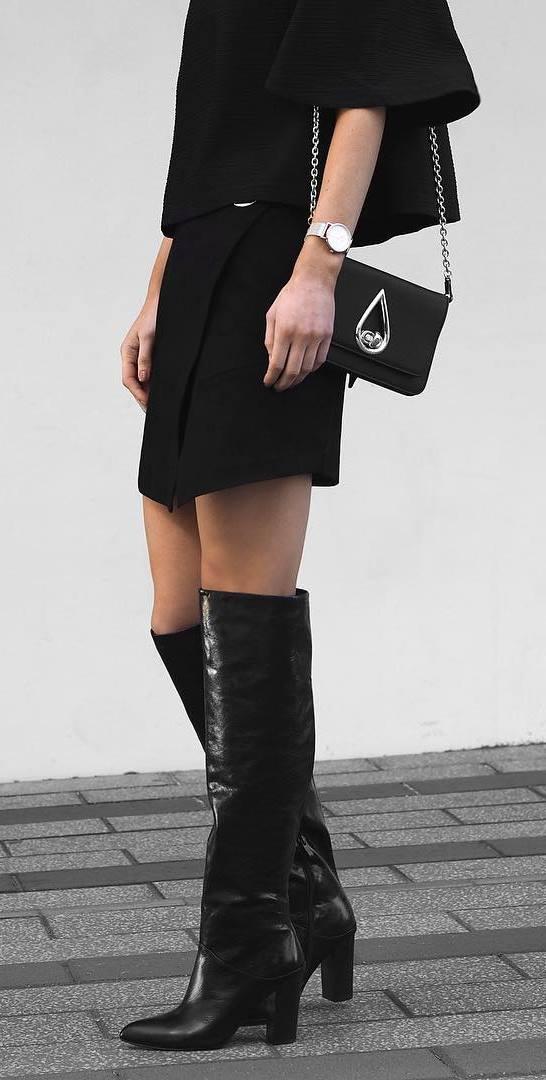 black fashion trends / set + bag + high boots