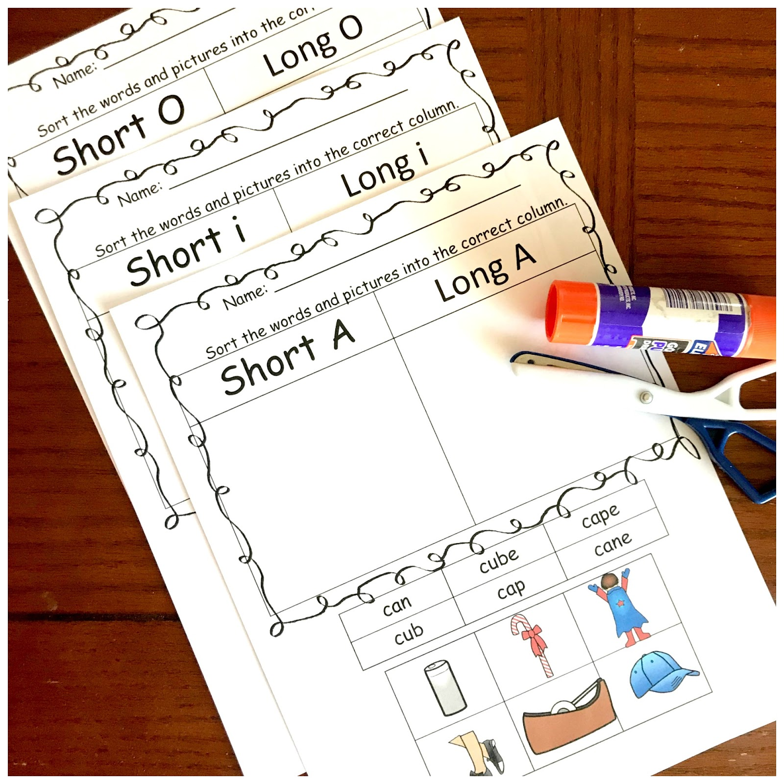 Free Long Vowel And Short Vowel Cut And Paste Worksheets
