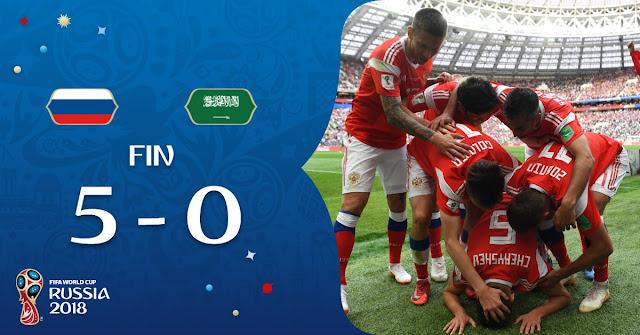 Rusia goleó a Arabia Saudita, el equipo del santafesino Juan Antonio Pizzi en el primer partido del Mundial