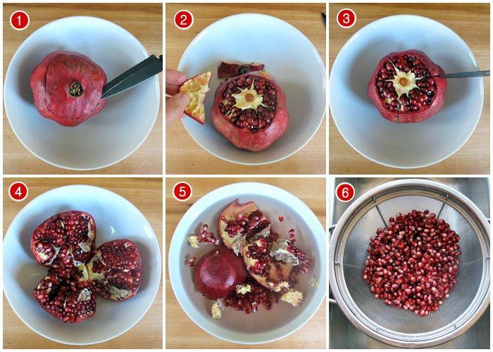 Cara mengambil biji buah delima