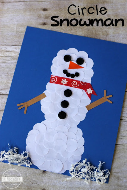 Circle Snowman Winter Craft - two clever and simple ideas for making this fun craft for kids from toddler, preschool, prek, kindergarten, first grade. Such a fun kids activities for january