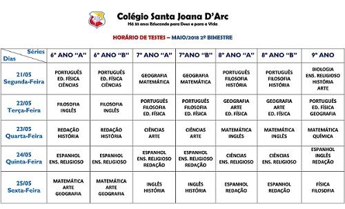 HORÁRIO DE TESTES - 2ª UNIDADE - FUNDAMENTAL II