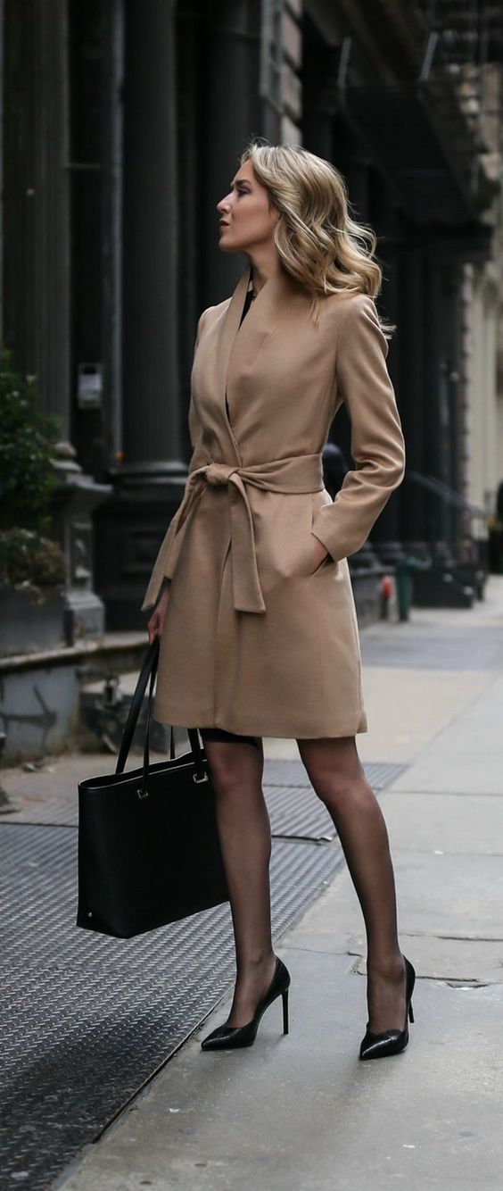 Chic Look Sheer Tights Heels And Neutral Belted Coat