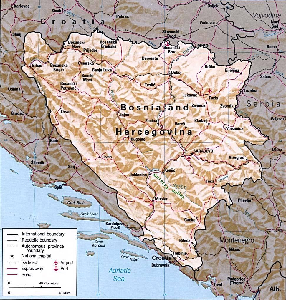 Bósnia-Herzegovina | Mapas Geográficos da Bósnia-Herzegovina