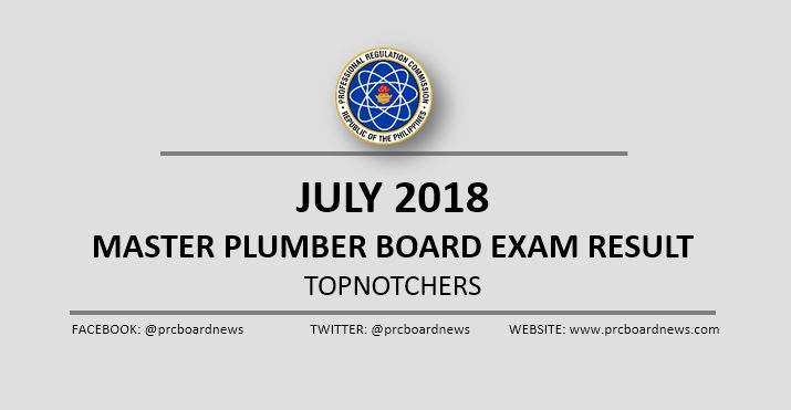 PRC RESULT: July 2018 Master Plumber board exam top 10