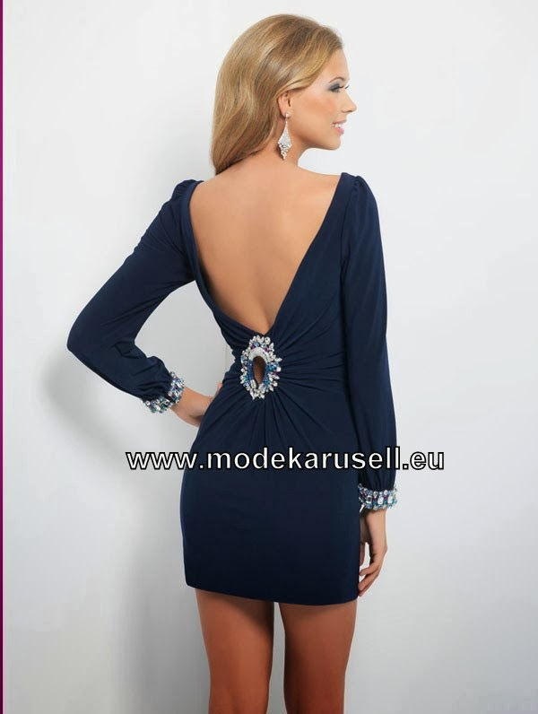 abendkleider 2014 lang kurzes elegantes langarm abendkleid 2014 dunkel blau. Black Bedroom Furniture Sets. Home Design Ideas