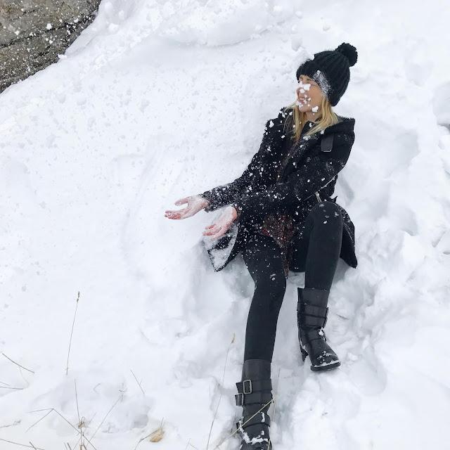 Jouer dans la neige au Mont Salève