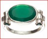 inel argint piatra verde