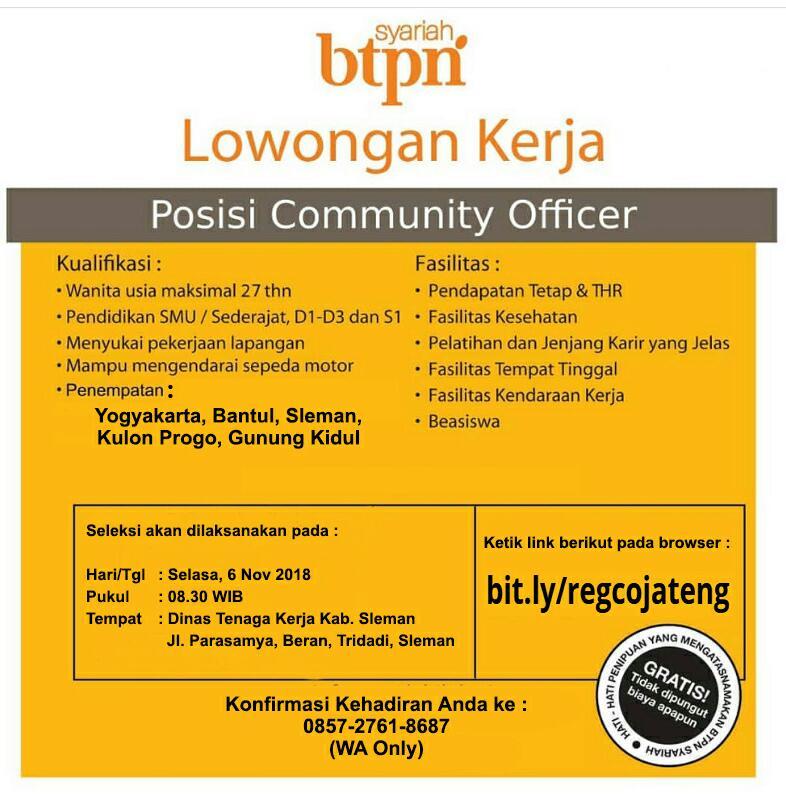 Lowongan Kerja Perbankan Wilayah Yogyakarta Bantul Sleman Kulon Progo Gunung Kidul Btpn Syariah Portal Info Lowongan Kerja Jogja Yogyakarta 2021