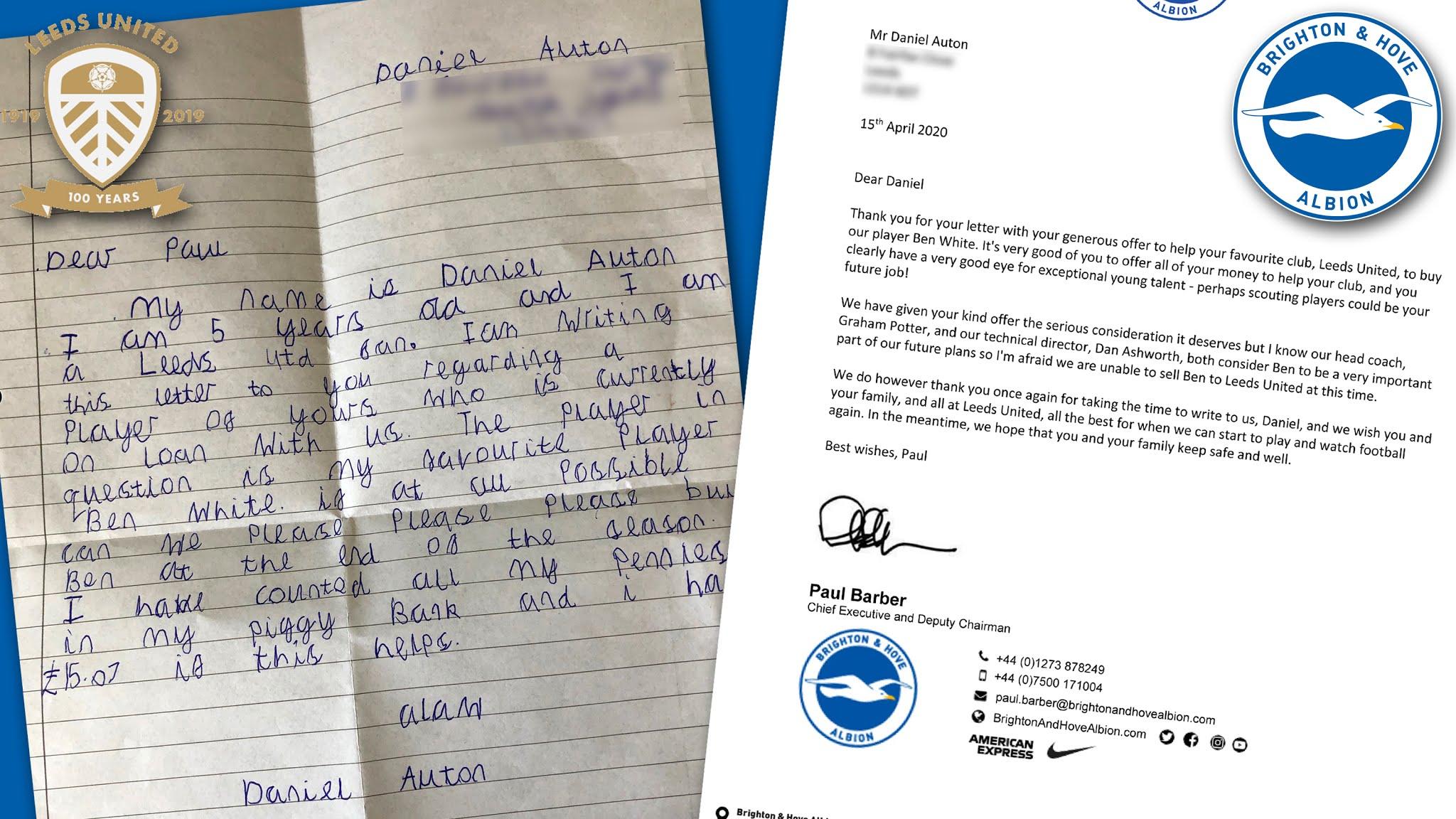 Five-year-old Leeds fan offers pocket money to buy on-loan defender Ben White