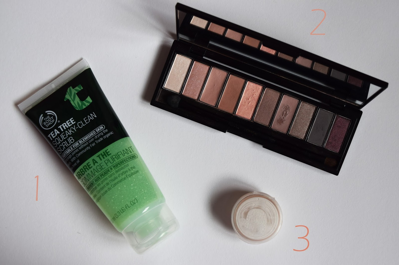 an image showing the L'oreal Nude Rose Palette, the body shop tea tree scrub, and the body shop BB cream
