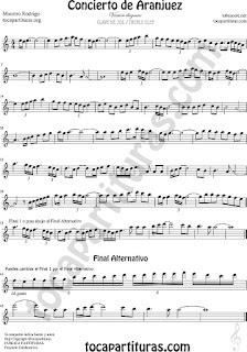 Partitura del Concierto de Aranjuez para Clave de Sol Versión diegosax con final alternativo, sirve para flautas, saxofones varios, clarinete, oboe, violines, trompeta (con el sí agudo)...