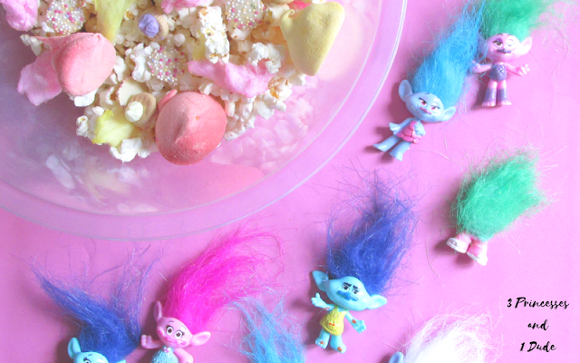 Trolls themed popcorn mix