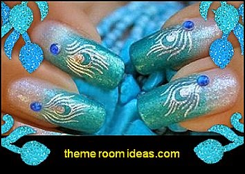 Gold Silver Peacock Tail Feather Designs Nail Decal Decoration