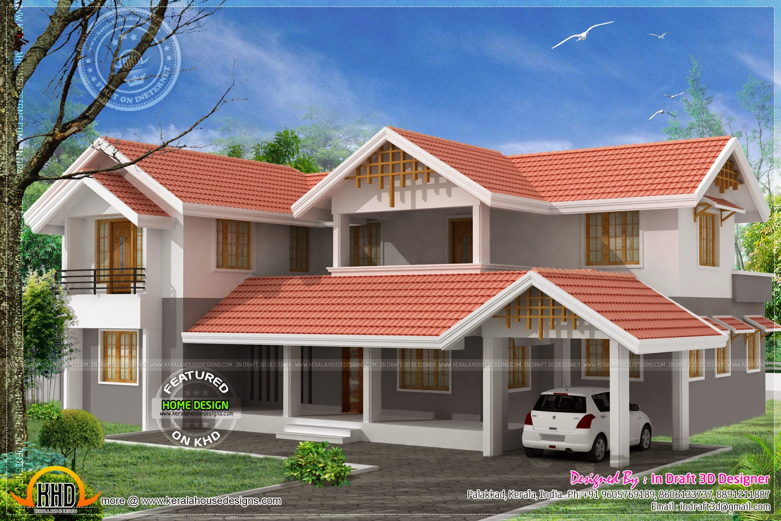 3d home design in 2860 sq feet kerala home design and for Kerala 3d home floor plans