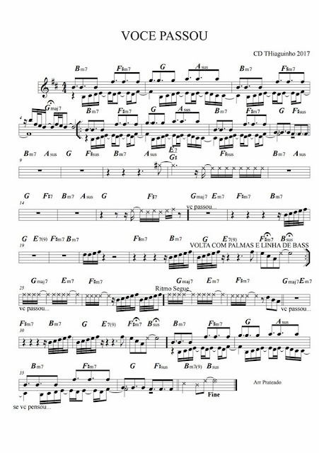 Thiaguinho, voce passou, partitura