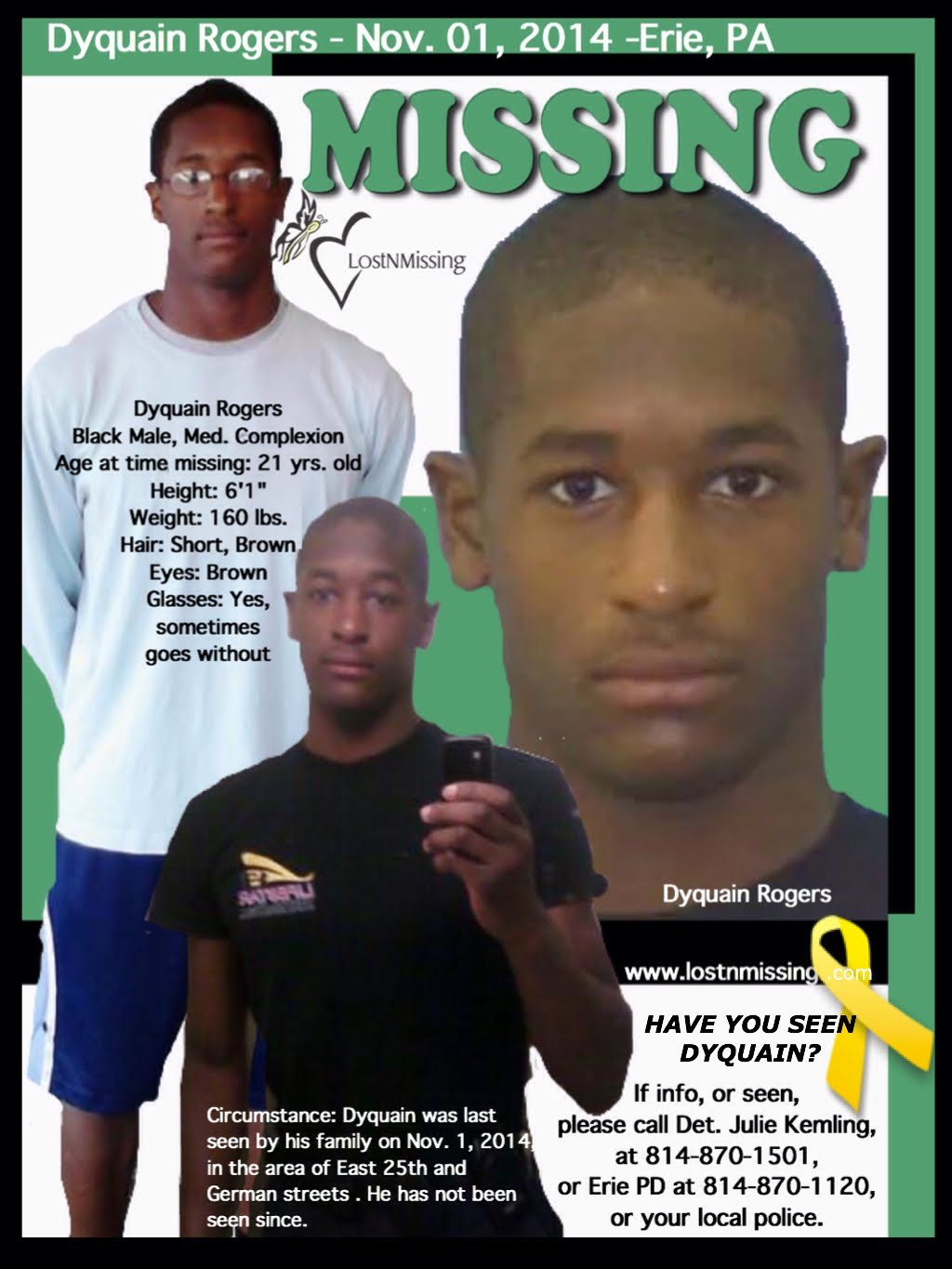 LostNMissing, Inc: Still Missing: Dyquain Rogers, since 2014 in Erie, PA