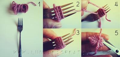 come fare un pompon con forchetta