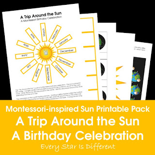 Montessori-inspired Sun Printable Pack: A Trip Around the Sun Montessori Birthday Celebration