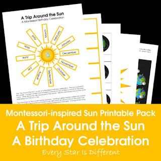 Montessori-inspired Sun Printable Pack: A Trip Around the Sun Montessori Birthday Celebration