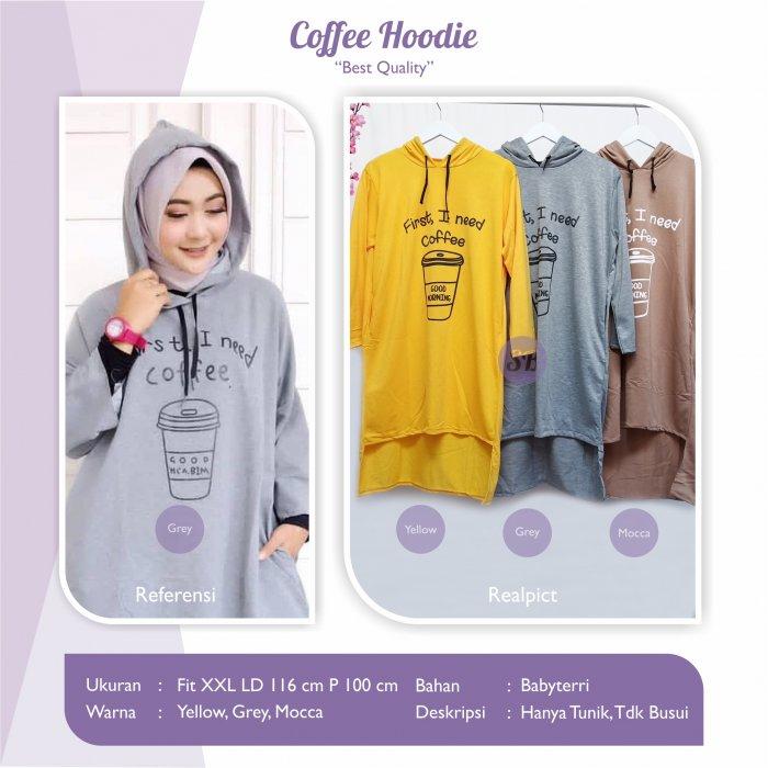 Jual Baju Tunik Wanita Coffee Hoodie