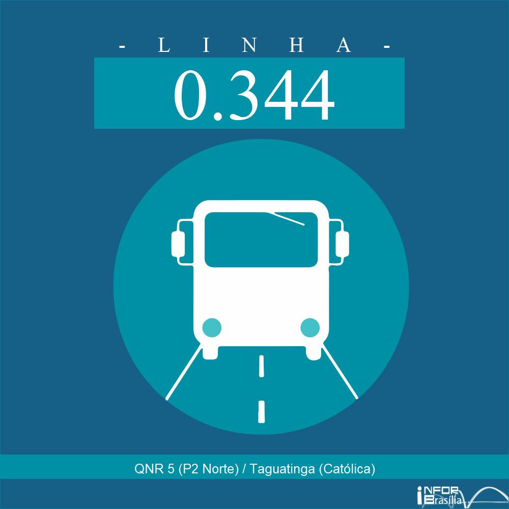 Horário de ônibus e itinerário 0.344 - QNR 5 (P2 Norte) / Taguatinga (Católica)