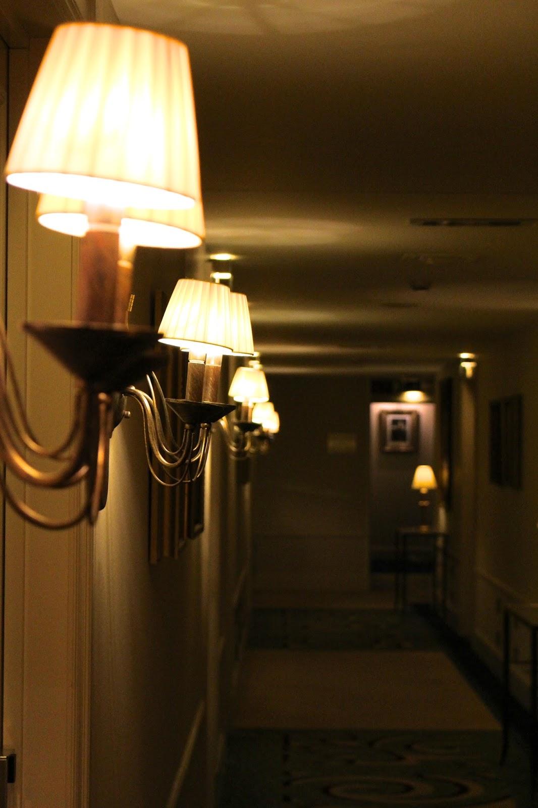 Luxury hotel's corridor by night