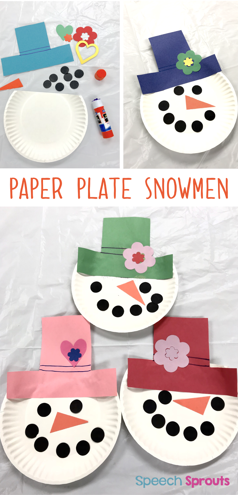 Speech sprouts how to build language with 3 easy snowman activities paper plate snowmen easy snowman activities for speech therapy crafts and game jeuxipadfo Gallery