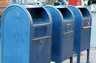 Mailboxes lined up on street corner