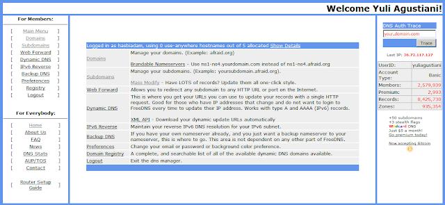 Cara mengarahkan domain dari freedns.afraid.org ke blogger