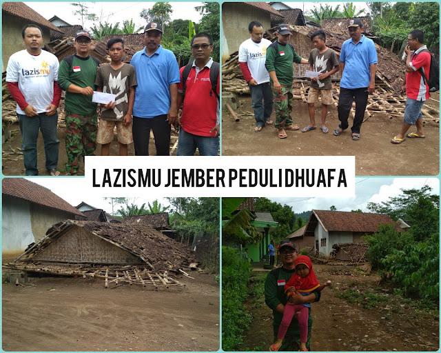 Team Lazismu Jember hadir untuk memberikan santunan awal kepada Subhan, yatim yg telah lama ditinggal kedua orang tuanya