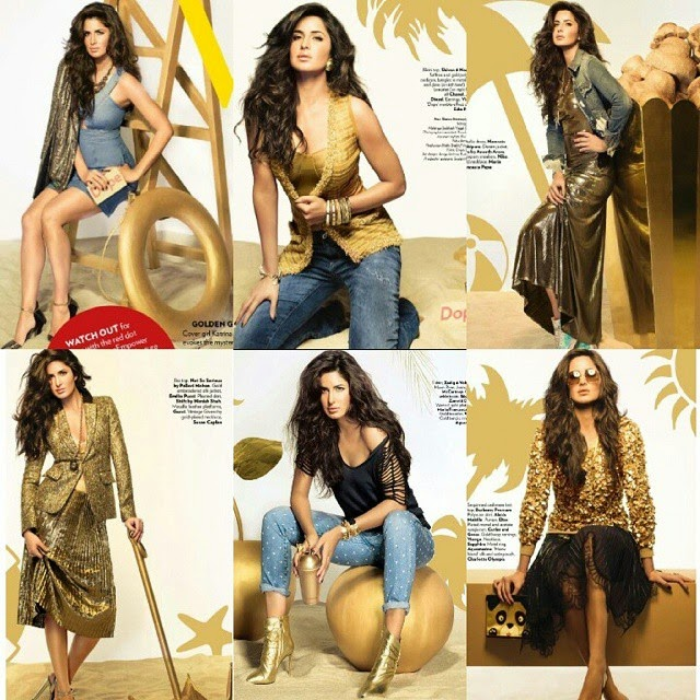 my princess katrina kaif , december photoshoot 💞 she looks beautiful as always! gosh, her outfits are the best 😍,  Katrina Kaif Golden Dress hot Pics from Vogue Magazine December 2014 Edition