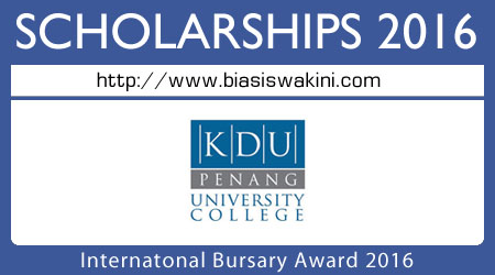 International Bursary Award 2016