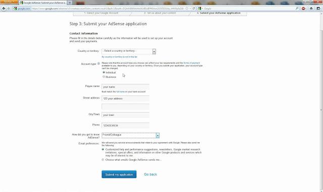 Submit Identitas google adsense