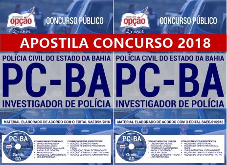 apostila Polícia Civil Bahia Investigador de Polícia da PCBA