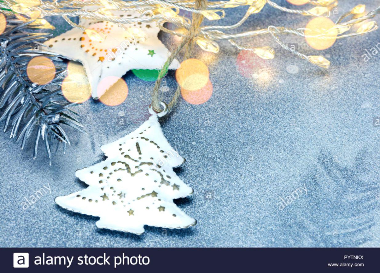 Christmas Garland Lights Hearts Bokeh Tree Branches Winter