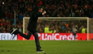 Luis Enrique merayakan kemenangan dramatis Barcelona atas PSG (Reuters) updetails.com