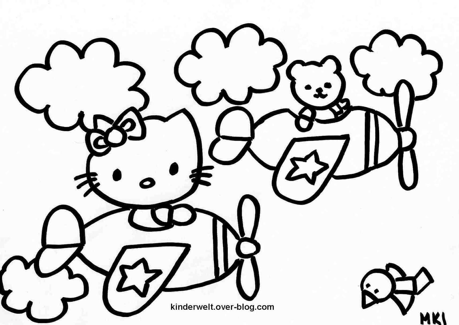 Ausmalbilder zum Ausdrucken: Hello Kitty Ausmalbilder