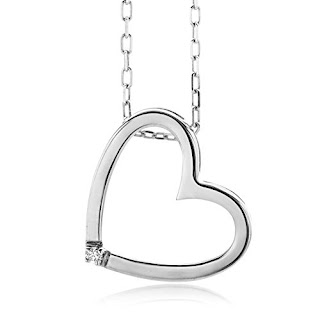 VALENTINE DEALS : Miore 0.01 ct Diamond Heart Pendant Necklace on 45 cm Chain £20.74