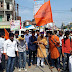 छात्राओ के ऊपर हुए लाठी चार्ज के विरोध में एबीवीपी ने फूंका पुतला