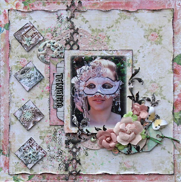 Patricia Basson created this pink and white shabby chic masquerade layout with our Lisa's Sweet September Kit