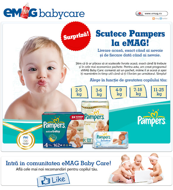 eMAG Baby Care, scutece PAMPERS livrate la tine acasa!