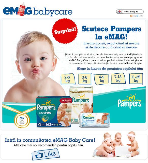 eMAG Baby Care, scutece PAMPERS livrate la tine acasa!