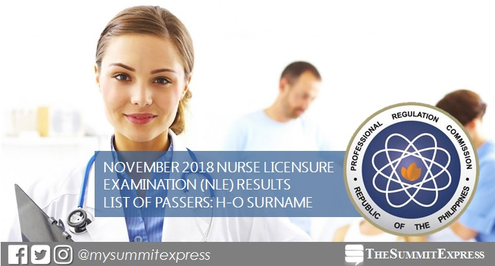 H-O List of Passers: NLE Result November 2018 nursing board exam