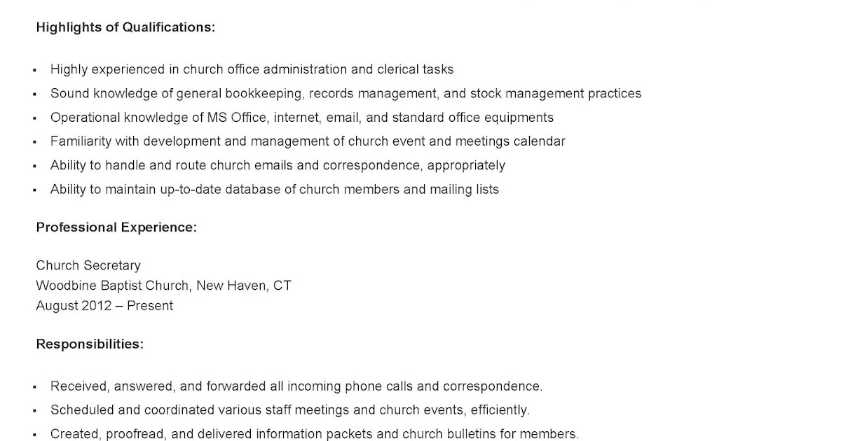 Resume Samples Church Secretary Resume Sample